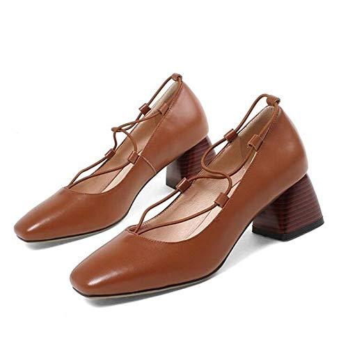 ZHZNVX Zapatos de Mujer Nappa Leather Spring Comfort Tacones Chunky Heel Blanco/Marrón / Azul Blue