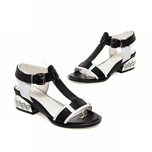 Carolbar Womens Assorted Colors T-strap Buckle Rhinestone Mid Heel Sandals Black (PU Leather) 8SGf3Gi