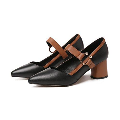 AJUNR Moda/elegante/Transpirable/Sandalias Solo zapatos puntiagudos grueso de salvaje zapatos de mujer negro 6 cm de tacon zapatos Treinta y cinco 36