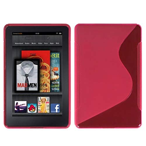 Insten S Shape TPU Rubber Candy Skin Case Cover Compatible with Amazon Kindle Fire 1st Gen (2011), Hot ()