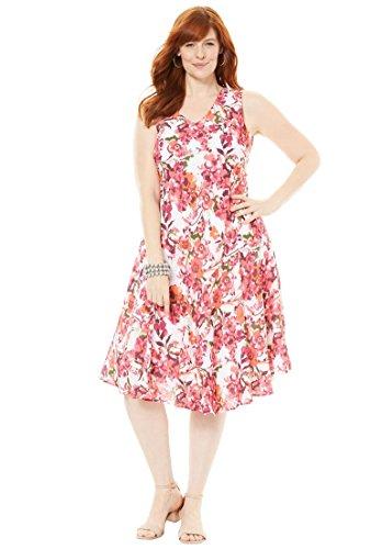 's Plus Size Floral Print Dress Raspberry Floral,12 ()