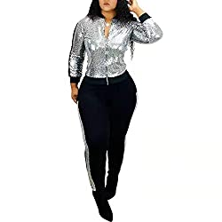 Sequins Silvery Two Piece Sequin Outfits Tracksuit