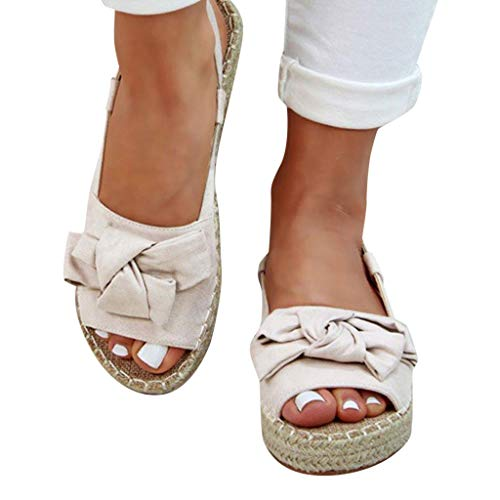 Women's Wedges Sandals Casual Thick Bottom Peep Toe Butterfly Knot Buckle Strap Sandals Beige