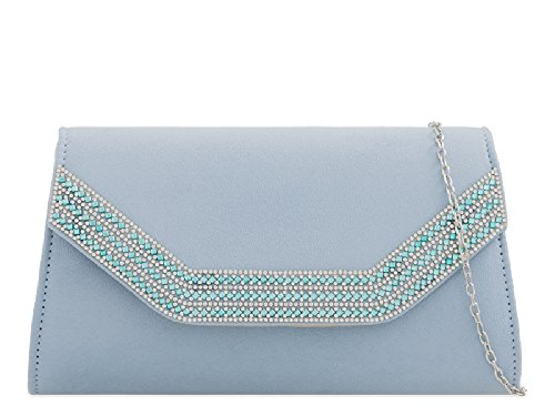 Ladies Envelope Summer Evening Party Handbag Diamante Suede Bag Blue Women's Powder Kz2275 Clutch Purse rgqrw6
