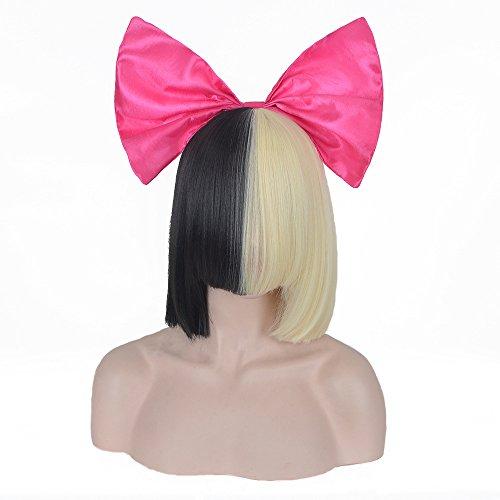 Netgo Women Girls Half Blonde and Black 2 Tone Hair Short Straight Cosplay Costume Hallowen Wigs with Rose Pink (Hallowen Wigs)