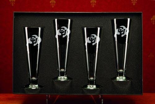 NCAA - Colorado Buffaloes 16 oz Deep Etched Classic Pilsners Gift Set of 4 (Etched Deep Pilsners Classic)