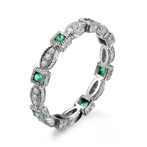 Diamond & Emerald Antique Ring - 8