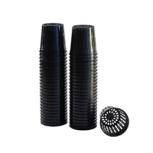 """xGarden 50 Pack Lightweight Economy Net Pot Cups for Hydroponics and Aquaponics - 2"""" Diameter Thin Lip Design with Slotted Mesh Sides"""