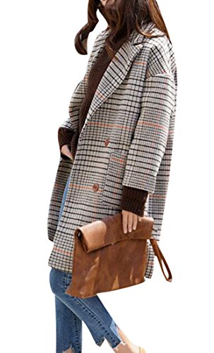 Fensajomon Womens Winter Plaid Double Breasted Wool Blend Pea Coat Overcoat 1 (Plaid Overcoat)