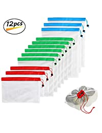 Reusable Mesh Produce Bags Premium WashableBags with Tare Weight on Tags for Grocery Shopping Storage, Fruit, Vegetable, and Toys (Set of 12 PCS)