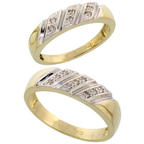 Gold Plated Sterling Silver Diamond 2 Piece Wedding Ring Set His 6mm & Hers 5mm, Ladies Size 5.5 by Silver City Jewelry