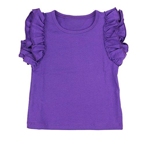 Wennikids Little Girls' Double Ruffle Solid Tank Top Large Purple (Ruffle Purple)