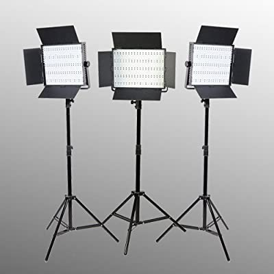 ePhoto 3 Panel 600 LED Lighting Kit Photograph Video Light Panel with Light Stand Kit Sony V Mount adapterby ePhotoINC ULS600HSx3 from Weifeng