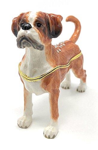 Boxer Dog Enameled & Bejeweled Hinged Trinket Box Austrian Crystals