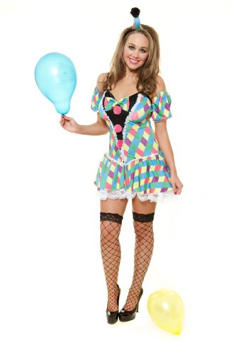 RolePlay Womens Clown Adult Fancy Dress Costume Medium (Cute Female Clown Costumes)