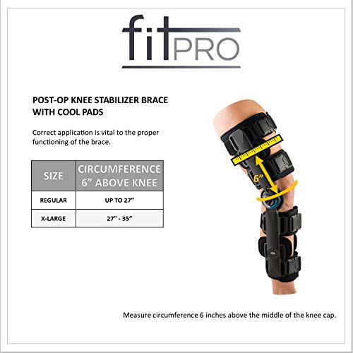 FitPro Adjustable Range of Motion Post-Op Knee Stabilizer Brace with Cool Pads, Regular, Amazon Exclusive Brand by FitPro (Image #1)