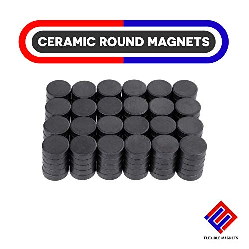 Ceramic Magnets - Round Disc Ferrite Magnets for Science Projects, House, Crafts. 0.75