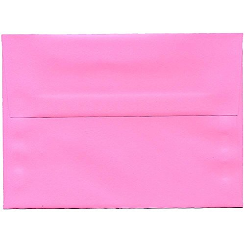 "JAM Paper A7 Invitation Envelopes- 5 1/4"" x 7 1/4"" - Brite Hue Ultra Pink - 25/pack delicate"