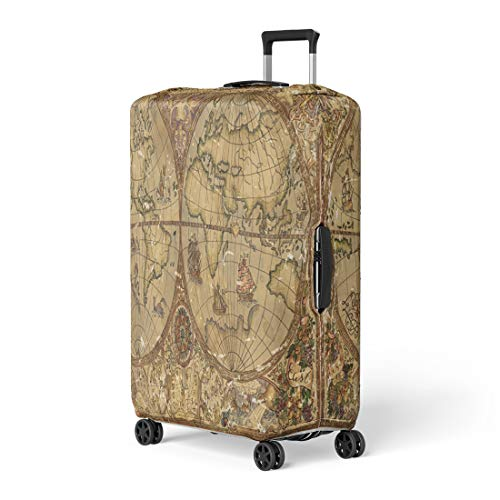 Pinbeam Luggage Cover Vintage World Atlas Map on Antique Parchment Pirate Travel Suitcase Cover Protector Baggage Case Fits 22-24 inches