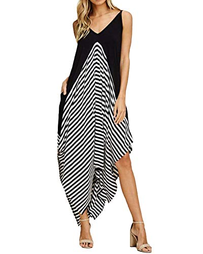 (STYLE DOME Womens Sexy Summer Maxi Dress Long Striped Sundress Spaghetti Strap Causal Party Dress S)