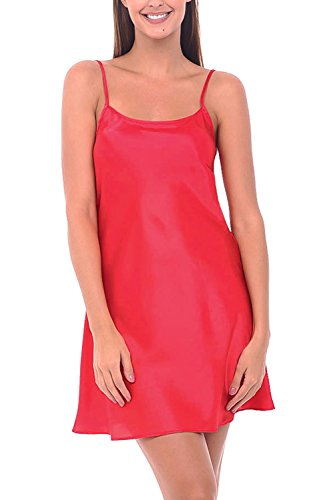 Del Rossa Women's Satin Nightgown, Long Camisole Chemise, Large Red (A0766REDLG)