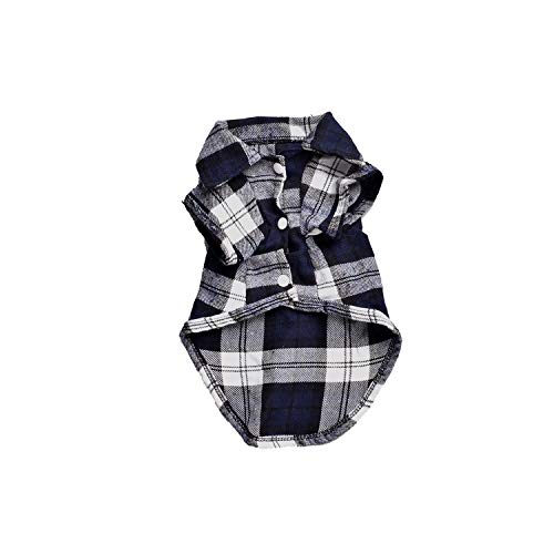 Encounter_meet Pet Cat Clothes for Small Cats Plaid Cat Shirts Cotton Kitten T-Shirt Costumes Puppy Dog Cat,Blue,XL]()