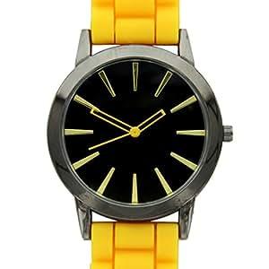 New Geneva Yellow w/ Black Silicone Watch