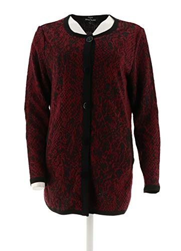 Dennis Basso Knit Animal Jacquard Jacket Wine Combo S New A294628