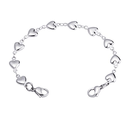 linnalove Heart Link Stainless Steel Interchangeable Medical Alert Bracelet