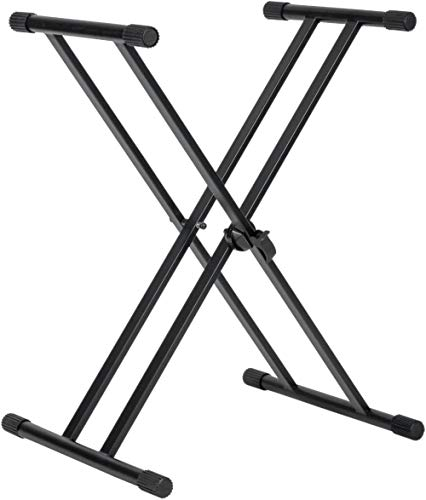 (Gator Frameworks Double Brace X-Style Keyboard Stand with Adjustable Height and Leveling Feet (GFW-KEY-2000X) (Renewed))