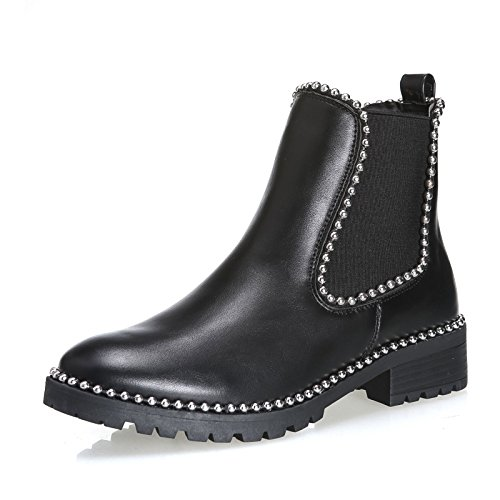 elastico borchie jl510 moda donna scarpe Nero chelsea tronchetto MForshop stivaletti FfYBSTFn