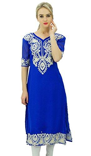 (Bimba Georgette Designer Embroidered Kurta Kurti Tunic Top Indian Straight Blouse Royal Blue)