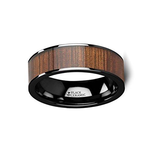Thorsten ATREUS Polished Black Ceramic Flat Wedding Band with Exotic Hawaiian Koa Wood Inlay 7mm from Roy Rose Jewelry