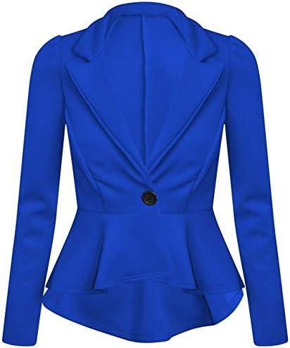 New Women's Plain Peplum Frill Jacket Ladies Long Sleeve Tailored Blazer Plus Size