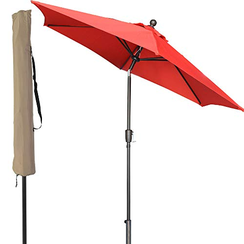 LCH 9 ft Outdoor Umbrella Patio Table Umbrella Yard Sturdy Pole Push Button Easily Tilt & Crank, Red by LCH