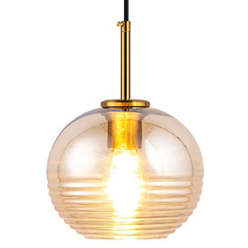 Modern Glass Globe Pendant Lighting Mini Spherical Hanging Lamp with Brass Finish Amber Color Shade for E26 Bulb Kitchen Island Dining Room Bedroom Living Room Restaurant Cafe