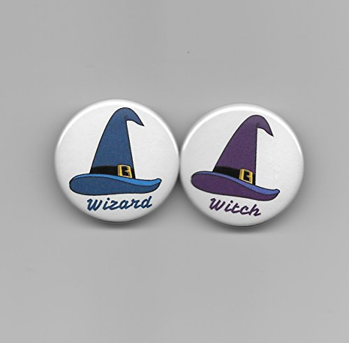 Wizard and Witch Hats Blue Boy, Purple Girl Gender Reveal Baby Shower Party Favors Pin Back Buttons Round Pinback Set of 20, (Mom Hat Pin)