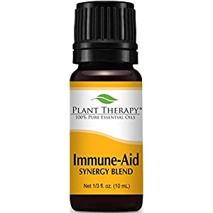 Plant Therapy Immune Aid Synergy Essential Oil Blend. 100% Pure, Undiluted, Therapeutic Grade. Blend of: Frankincense, Tea Tree, Rosemary, Lemon, Eucalyptus and Orange. 10 ml (1/3 oz).