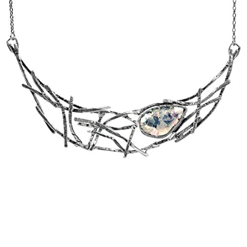 Paz Creations ♥925 Sterling Silver Pear Shaped Roman Glass Web Necklace