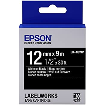 "Epson LabelWorks Standard LK (Replaces LC) Tape Cartridge ~1/2"" White on Black (LK-4BWV) - For use with LabelWorks LW-300, LW-400, LW-600P and LW-700 label printers"