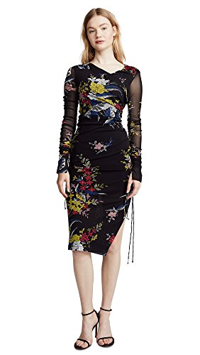 Diane von Furstenberg Women's Ruched Dress, Floral Black, 8 Diane Mesh