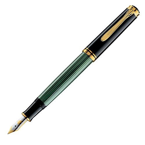 Pelikan M400 Fountain Pen with Gold-Plated Stainless Steel Fittings and Clip, 14k Gold Fine Nib, Black/Green Barrel (994855)