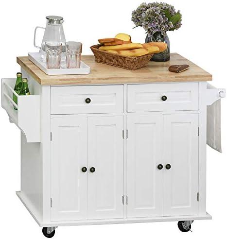 HOMCOM Rolling Kitchen Island Cart