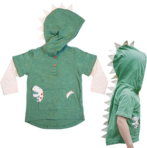 Mini Jiji Green T-Rex Dinosaur Toddler Hoodie with Removable Sleeves for Infant Toddlers Boys Girls Unisex (Green, Medium, 7-8 -