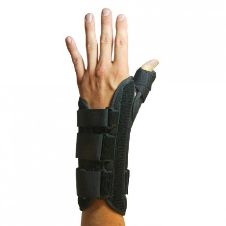 BraceAbility Thumb Abduction Spica & Wrist Splint Cast | Immobilizes your Carpometacarpal (CMC), Trapeziometacarpal (TMC), Basal / Saddle Thumb Joint to Treat Arthritis Pain & Carpal Tunnel (S-Right)