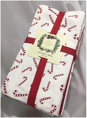 Ridgefield Home ホリデー クリスマス キャンディケーン ナプキン12枚セット (キャンディケーン6枚/ディープレッド6枚)