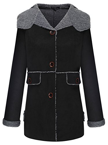 Wantdo Women's Winter Hododed Faux Shearling Coat, Black, Large