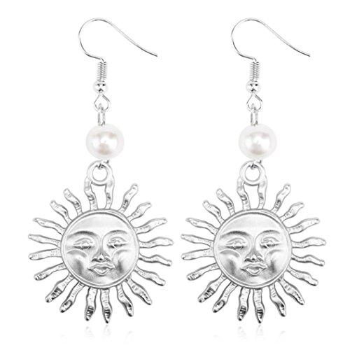DENER Women Ladies Earrings,Sun Flower Retro Piercing Ear Clips Stud Hoop Dangle Drop Eardrop Earrings (Silver)