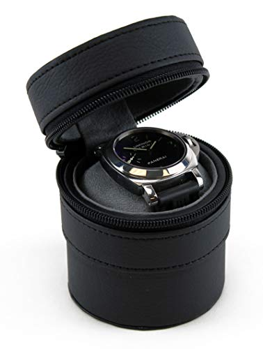 Heiden Travel Watch Case for Men - Black Leather Watch Box Cylindrical - Great for Travel with Large Watches