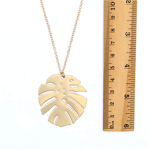 YONYou Unique Gold Leaf Pendant Long Sweater Necklace Handmade Natural Boho Hollow Leaf Cool Jewelry